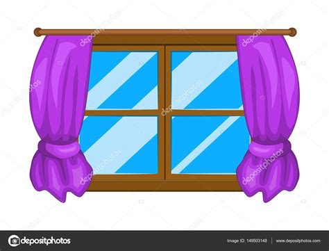 Cartoon Window With Curtains Vector Symbol Icon Design