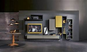 Modern wall units introducing modern italian for Modern set of living room furniture wall tv unit