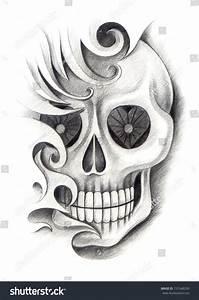 Skull Tattoo Hand Drawing On Paper Stock Illustration ...