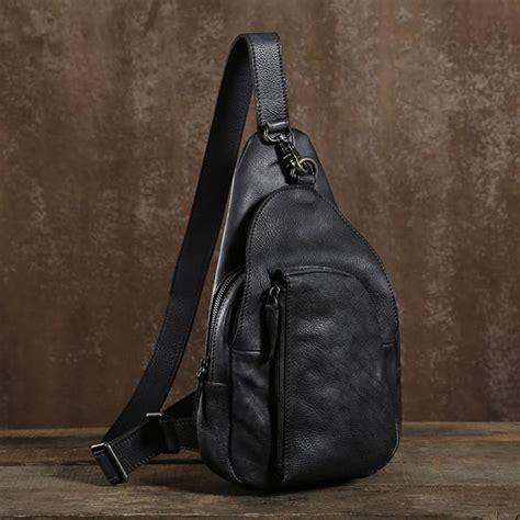 outdoor mens leather shoulder bag sling chest bag cool small messenge leajanebag