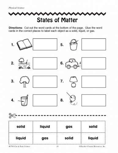 states of matter worksheets 2nd grade teacing