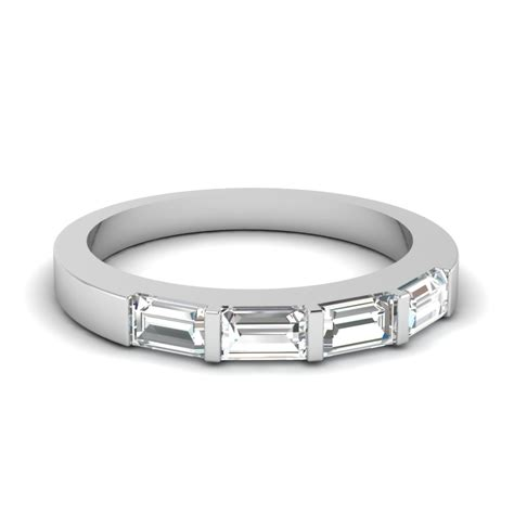 baguette wedding band rings baguette bar and marquise diamond engagement ring in 14k
