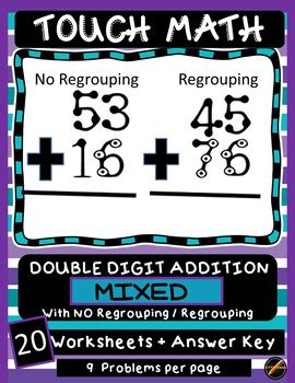 touch math digit addition touch math addition worksheets digit mixed