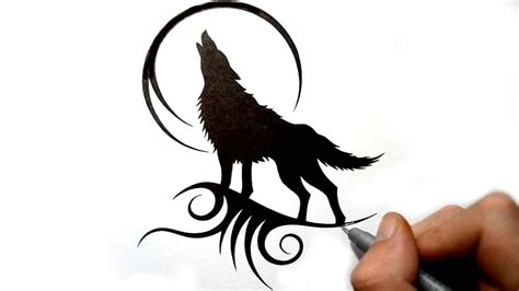 drawing  howling wolf silhouette black tribal tattoo