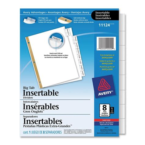 avery big tab template avery big tab insertable dividers 8 tab clear ld products