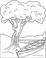 Coloring Canoe sketch template