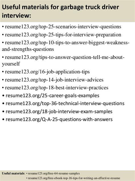 top 8 garbage truck driver resume sles