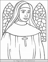 Coloring Nun Sister Religious Catholic Thecatholickid Church Catherine Children Scapular Brown sketch template