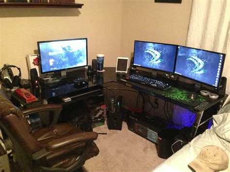 l shaped desk gaming setup cool computer setups and gaming setups