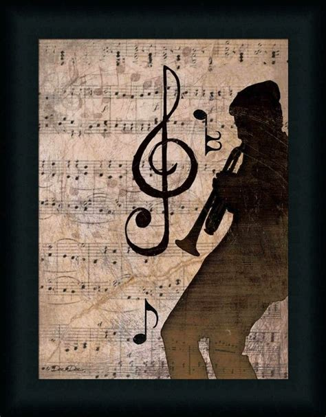 music jazz trumpet notes musical rhythm print prints sheet crafts framed club wall sound note trumpets decor painting guitar horns