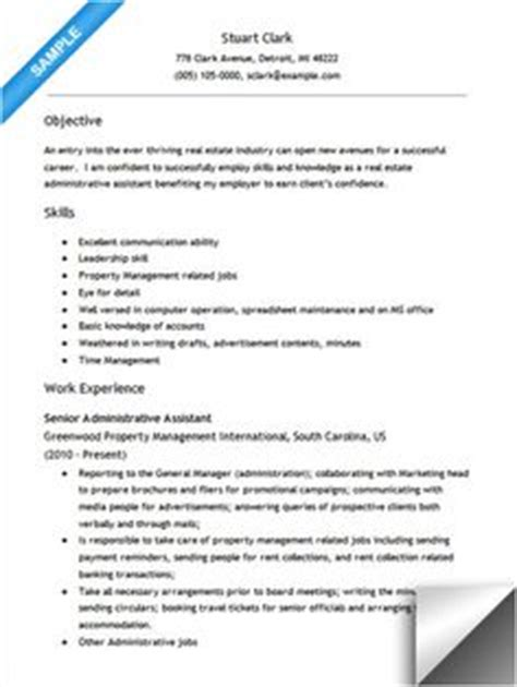 Resume Administrative Assistant Real Estate by Bartender Cover Letter Cover Letter Sle Bartenders Cover Letters And Letters