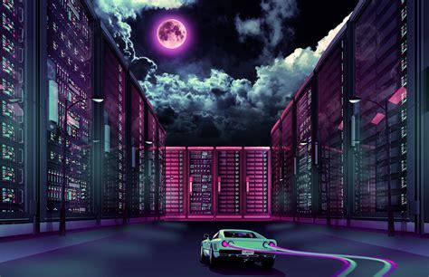 1080p Neon City Wallpaper by 1920x1080 Retrowave Car Going Through City Moon Laptop
