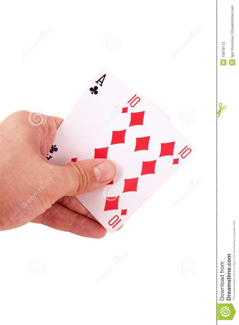 two player card hand holding two playing cards isolated stock photo image 15879112
