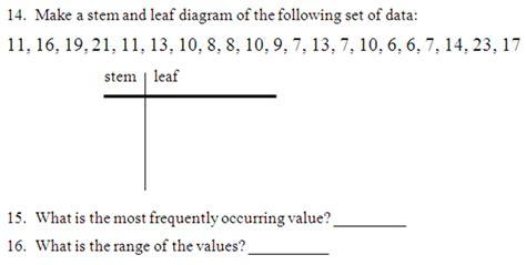 stem leaf plot worksheets   worksheets image
