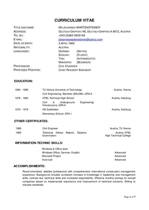 curriculum vitae world bank format