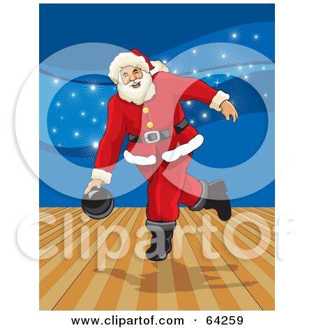 royalty  rf clipart illustration  santa bowling   alley  blue sparkles