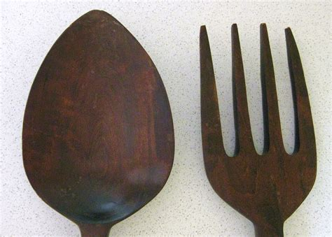 large wooden fork and spoon wall decor 28 inches