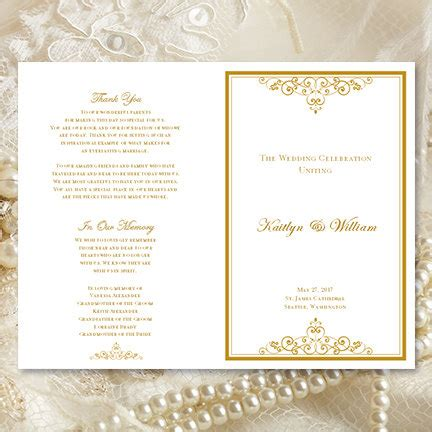 etsy wedding program template wedding program template vintage gold by weddingtemplates on etsy