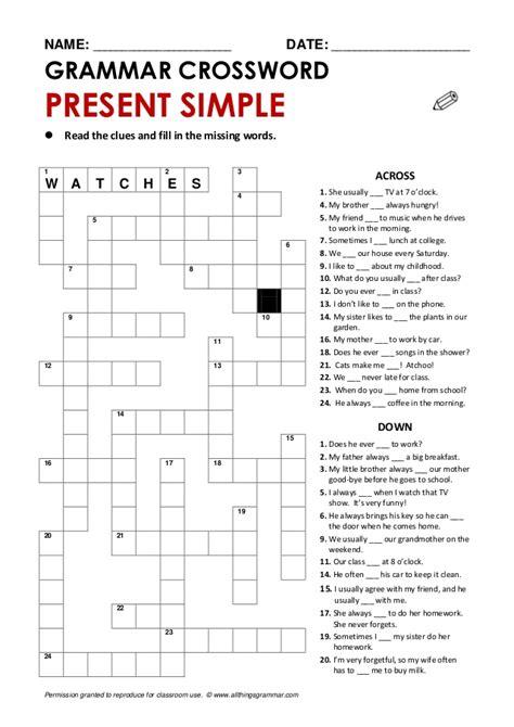 crossword presentsimple