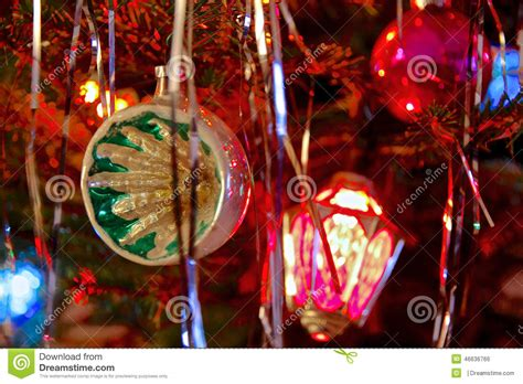 kitsch  style decorated christmas tree stock photo
