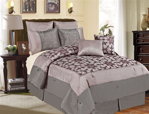7 piece cal king megellan gray and purple comforter set ebay