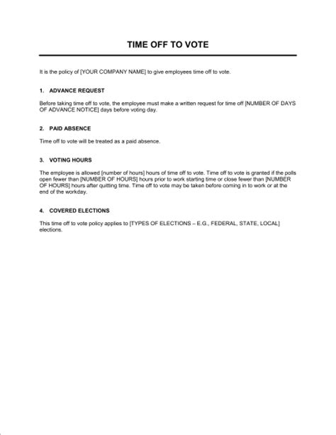 Paid Time Policy Template by Magnificent Voting Form Template Ensign Resume Ideas