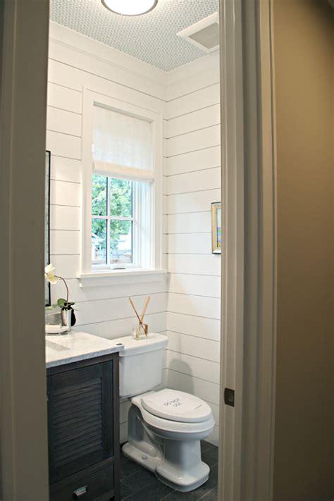 bathrooms  rock  shiplap treatment remodelando