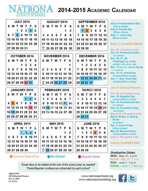 natrona county school district calendars casper wy