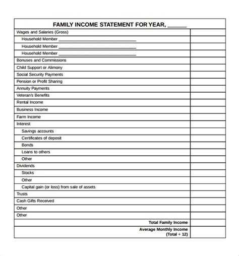 sample income statement templates   ms word