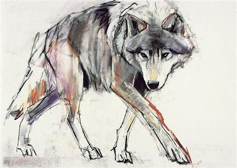 Wolf Painting By Mark Adlington
