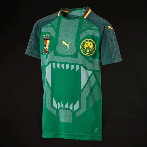 puma fcf cameroon  kids ss home shirt power green