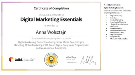 digital strategy certification digital marketing certification adbl