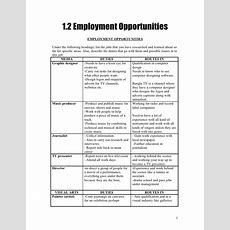12 Employment Opportunities Worksheet