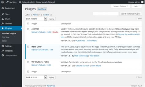 Network Admin Plugins Screen « Wordpress Codex