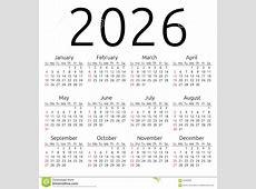 Vector Calendar 2026, Sunday Stock Vector Image 62409235