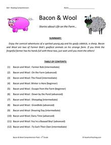 free third grade reading comprehension reading comprehension worksheet bacon and wool collection