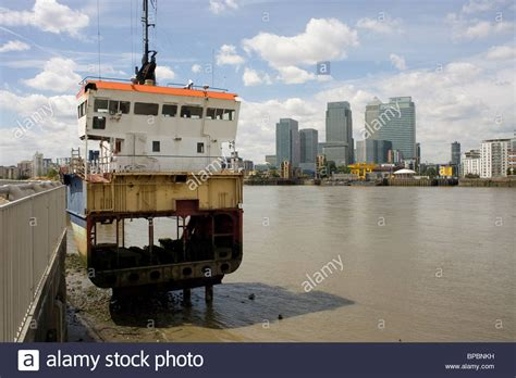 Boat Crash River Thames by Wrecked Ship On The River Thames Opposite Canary Wharf