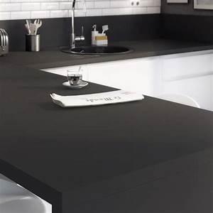 Parquet Stratifié Noir : plan de travail stratifi mat edition noir mat x p ~ Edinachiropracticcenter.com Idées de Décoration