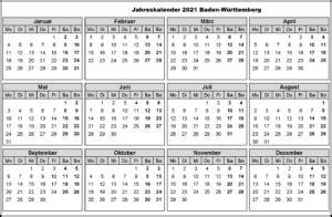 Ferien nrw 2021 kalender nordrhein westfalen 2021 download. Jahreskalender 2021 Baden-Württemberg Mit Ferien und ...