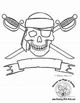 Pirate Pages Coloring Printable Flag Template Pirates Colouring Skull Sheets Sheet Ship Printables Templates Crossbones Halloween sketch template