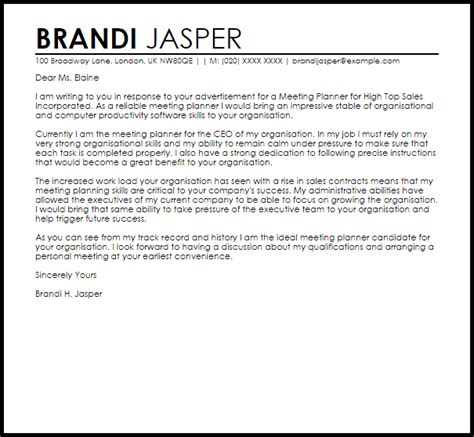 meeting planner cover letter sample cover letter templates examples