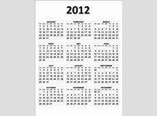 2012 Year Calendar Printable – Calendar Template 2019
