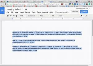 hanging indent With google docs add indent