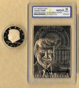 Donald trump was conservative of the year in 2017 and 2018. DONALD TRUMP 45th President 23 Kt Sculpted Gold Card GRADED GEM MINT 10 & Coin   eBay