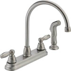 2 kitchen faucet shop peerless stainless 2 handle high arc deck mount kitchen faucet at lowes