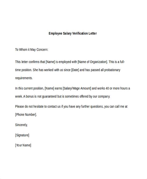letter confirmation of employment and salary image
