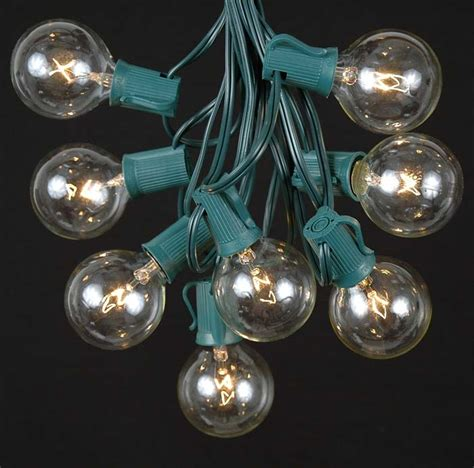 clear round bulb christmas lights clear satin g50 globe round outdoor string light set on