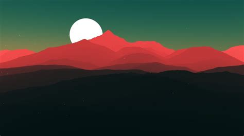 vector wallpaper red mountains  moon digital