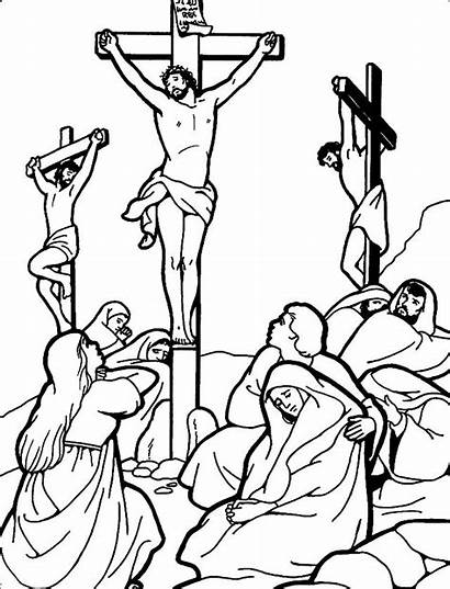 Jesus Coloring Pages Cross Friday Crucifixion Crucified