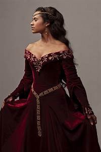 Deep red velvet medieval dress, worn by an actress from ...